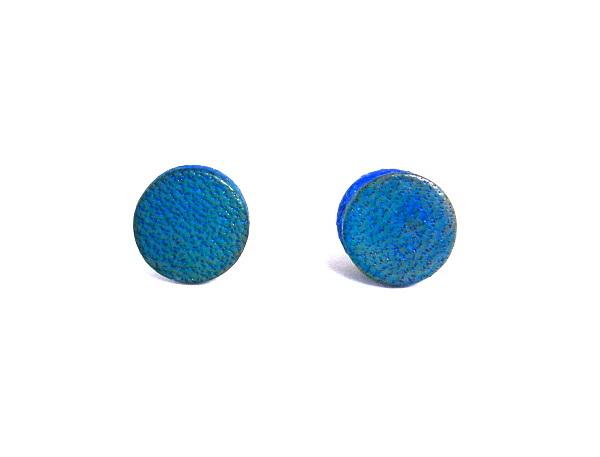 Earrings Jewelry - 3fine Design Denim Blue Mens Leather Studs Unisex Earrings by Tracy Behrends