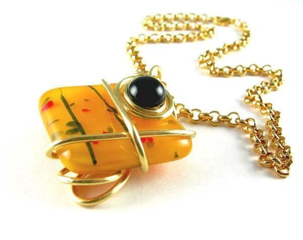 Golden Jewelry - 3fine Design Golden Fused Glass -n- Black Onyx Choker by Tracy Behrends