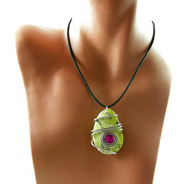 Leather Jewelry - 3fine Design Yellow Turquoise -n- Paua Necklace by Tracy Behrends