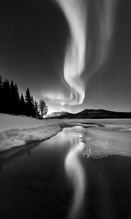 Aurora Borealis Photograph - Aurora Borealis Over Sandvannet Lake by Arild Heitmann