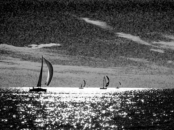 Water Photograph - 4 Boats On The Horizon Bw by Michael Thomas