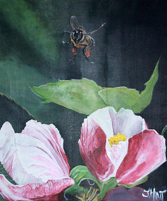 Apple Blossom Painting - Busy Bee by Justin Hiatt