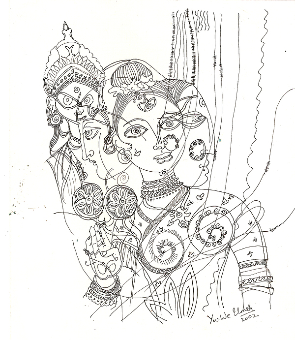 Deities Drawing - 4 Deities by Umesh U V