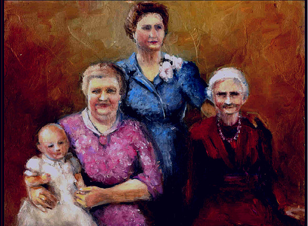 4 Generations Painting by Janet Checker