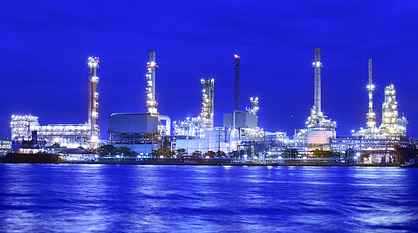 Automobiles Photograph - Landscape Of River And Oil Refinery Factory  by Anek Suwannaphoom
