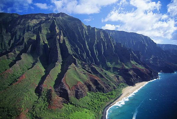 Aerial Photograph - Na Pali Coast Aerial by Bob Abraham - Printscapes