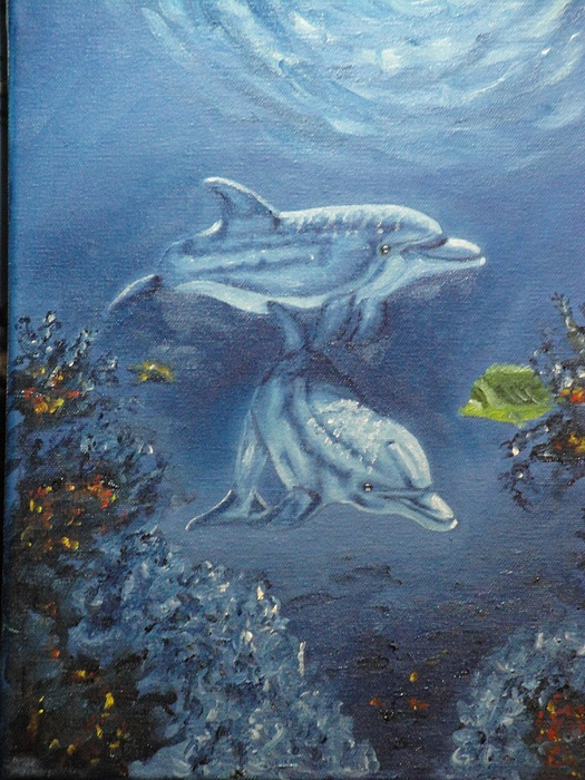Dolphins Painting - No Place Like Home by Charles Vaughn