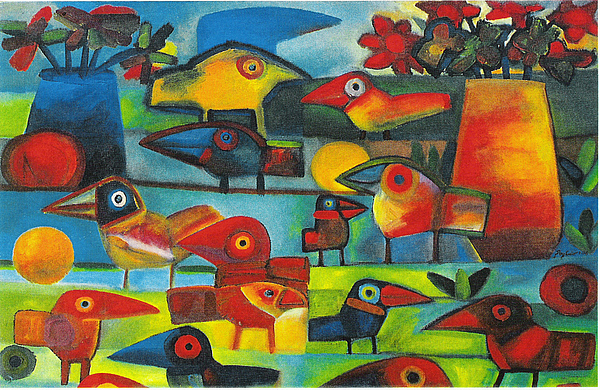 Birds Painting - No Title by Rogerio Dias