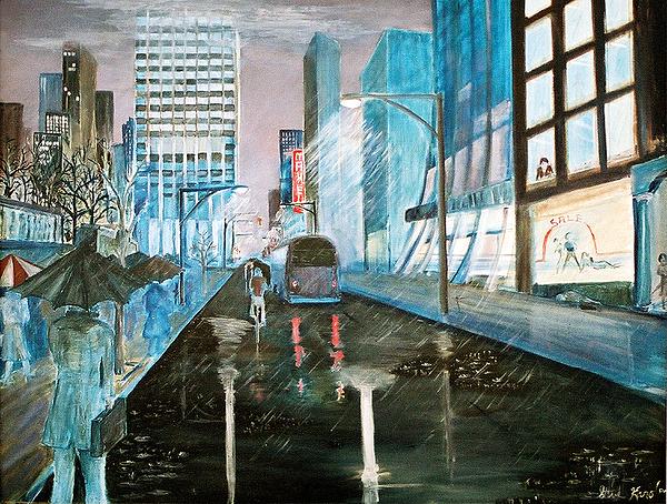 Street Scape Painting - 42nd Street Blue by Steve Karol