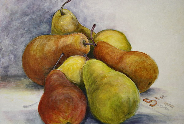 Pears Painting - 5 For A Dollar by Sandra Taylor-Hedges