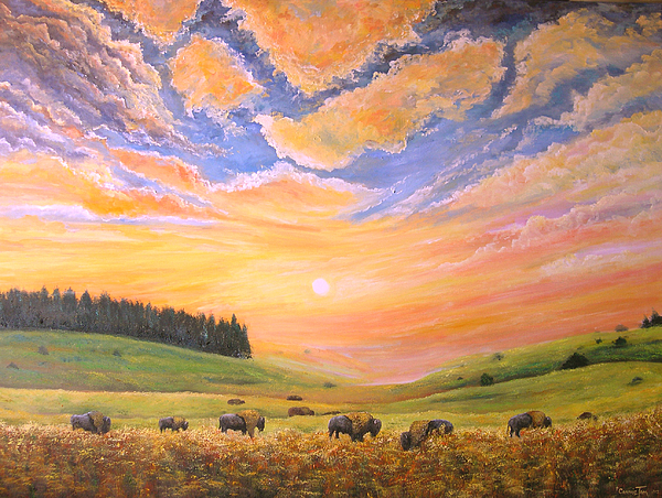 Landscape Painting - O Give Me A Home Where The Buffalo Roam by Connie Tom