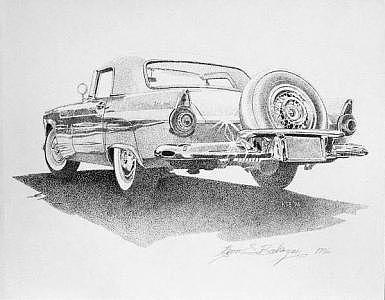 Ford T-bird Drawing - 55 T-bird by Kevin Bookman