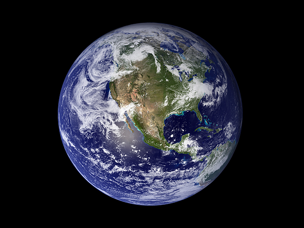 Black Background Photograph - Full Earth Showing North America by Stocktrek Images