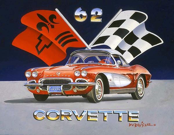 Chevy Corvette Painting - 62 Vette by Howard Dubois
