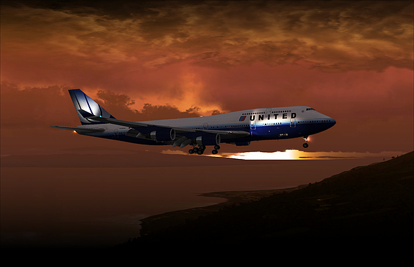Flight Digital Art - 747-400 02 Approach Phog by Mike Ray