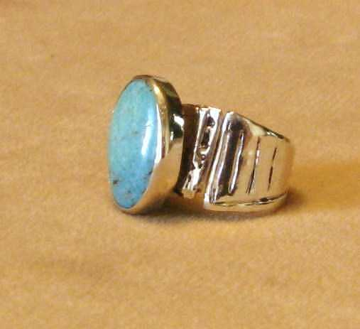 Silver Jewelry - Ring Turquise Clad In Silver by Hal Sharpe