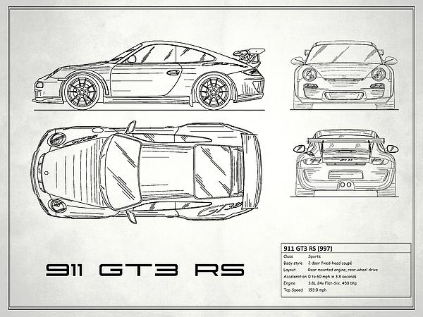 911 Gt3 Rs Blueprint White Photograph By Mark Rogan