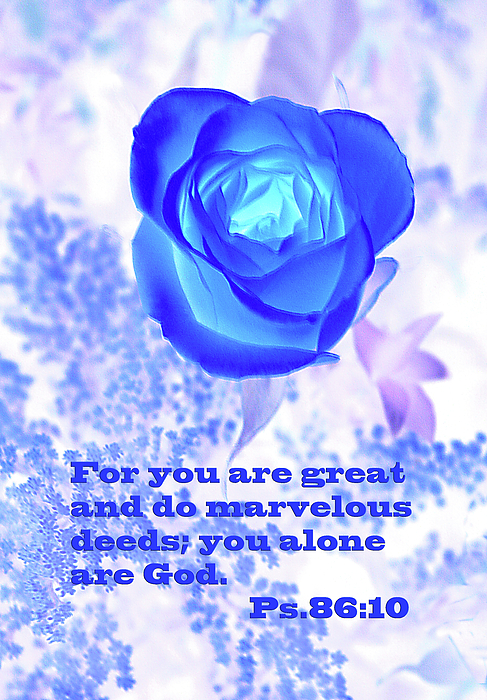 Scripture Photograph - A Blue Rose Ps. 86 V 10 by Linda Phelps