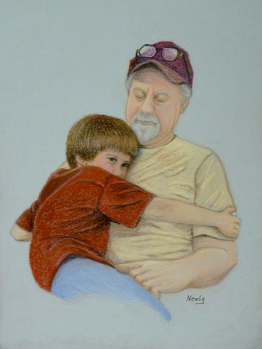 Dad Pastel - A Boy And His Dad by Pat Neely