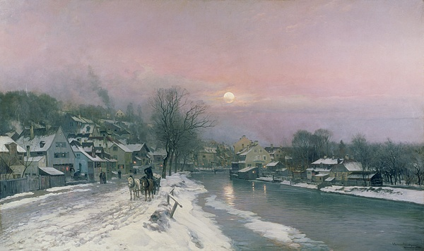 Canal Painting - A Canal Scene In Winter  by Anders Anderson Lundby