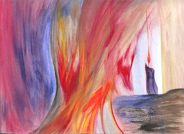 Candle Painting - A Candles Flame by Robert Meszaros