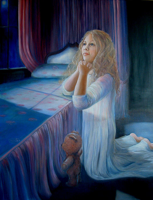 Portrait Painting - A Childs Prayer by Jodi Brody