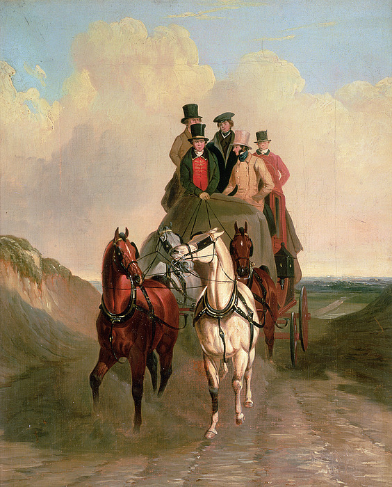 Coach Painting - A Coach And Four On An Open Road  by William Snr Shayer