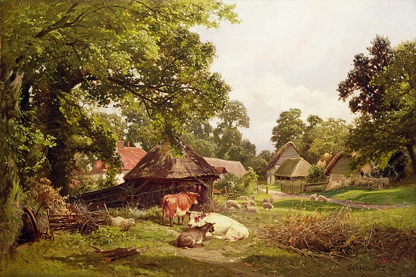Cottage Painting - A Cottage Home In Surrey by Edward Henry Holder