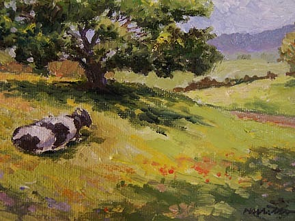 Landscape Painting - A Cow  by Maralyn Miller