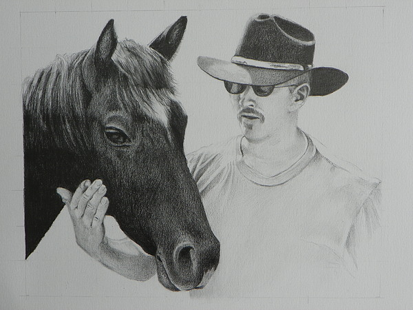 Landscape Drawing - A Cowboy And His Horse by David Ackerson
