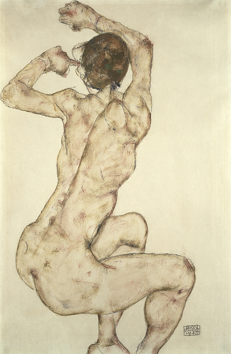 A Crouching Nude Painting - A Crouching Nude by Egon Schiele