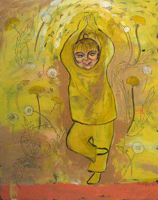 Child Painting - A Dandelion by Aliza Souleyeva-Alexander
