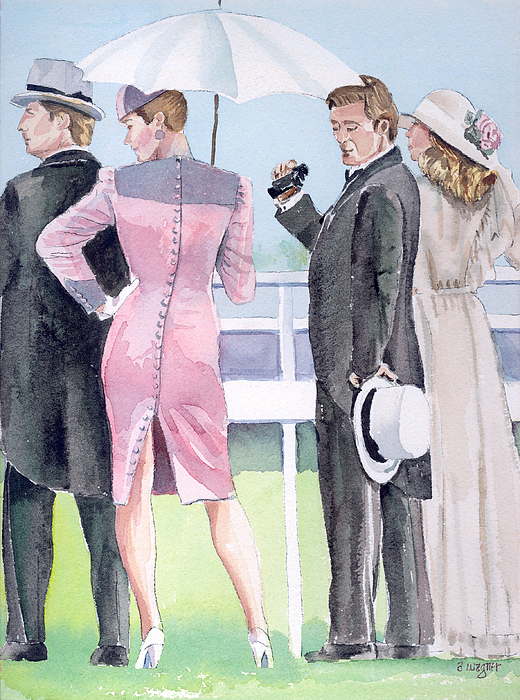 Race Track Painting - A Day At The Races by Arline Wagner