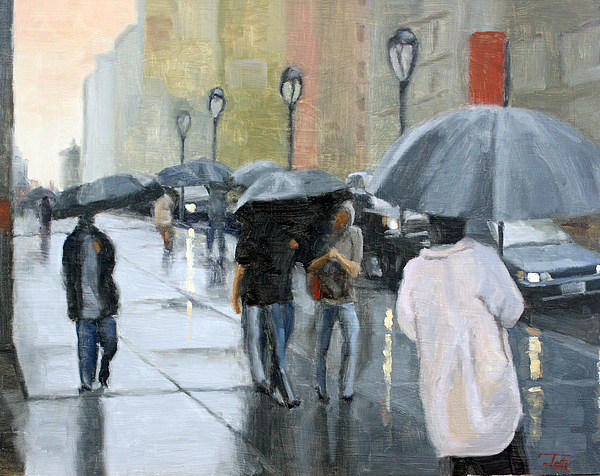 Cityscape Painting - A Day For Umbrellas by Tate Hamilton