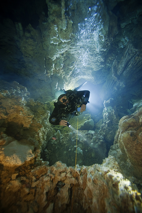 Underwater Photograph - A Diver Ascends A Deep Shaft In Dans by Wes C. Skiles