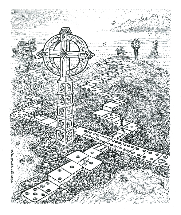 Dominoes Drawing - A Domino Crosses Variation by Bill Perkins