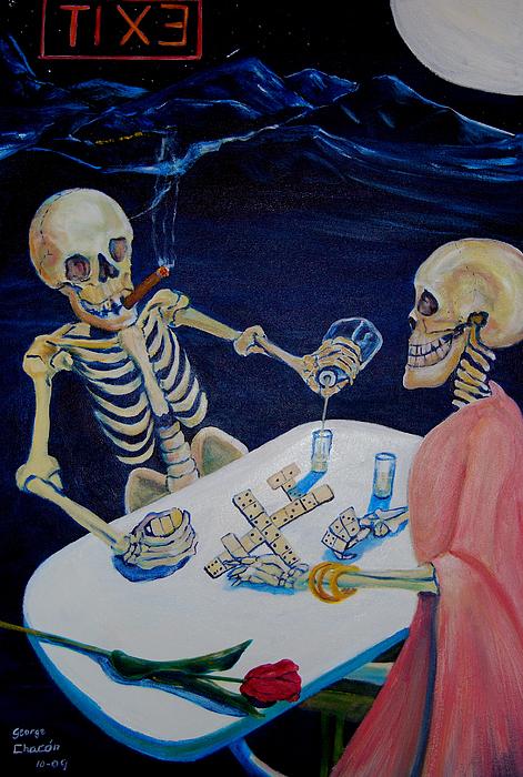 Dia De Los Muertos Painting - A Friendly Game Of Bones by George Chacon