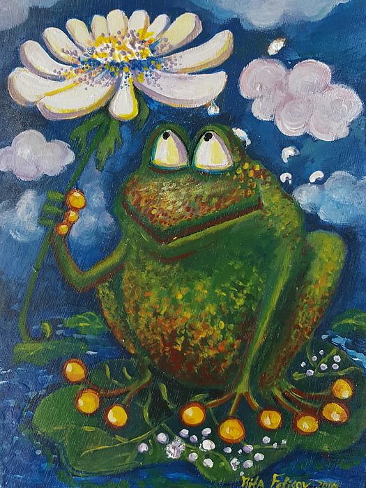 Frog Painting - Frog In The Rain by Rita Fetisov
