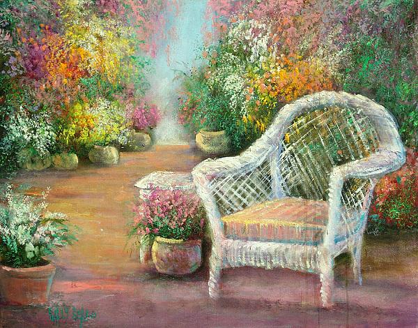 Gardens Painting - A Garden Chair by Sally Seago