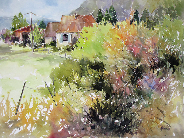 Landscape Painting - A Glimpse Beyond The Brambles, France.. by Rae Andrews