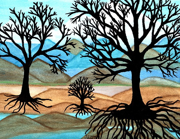 Black Trees Painting - A Good Foundation by Connie Valasco