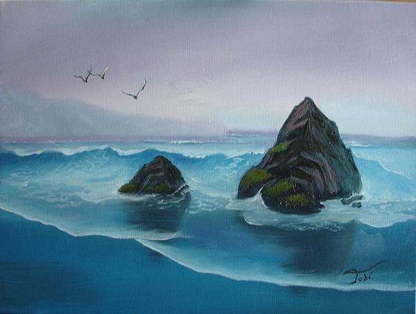 Seascape Painting - A Grey Day by Tobi Czumak