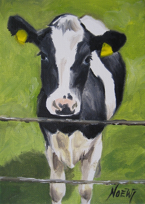 Animal Painting - A Heifer by Jindra Noewi
