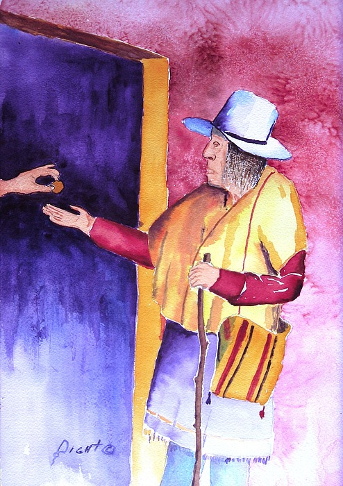 Oldman Painting - A Helping Hand by Buster Dight