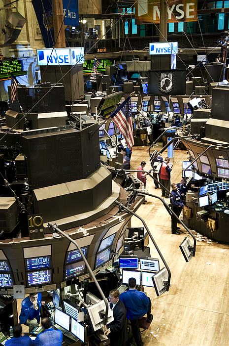 Indoors Photograph - A High Angle View Of The New York Stock by Justin Guariglia