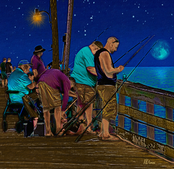 Rodanthe Painting - A Little Night Fishing At The Rodanthe Pier 2 by Anne Kitzman