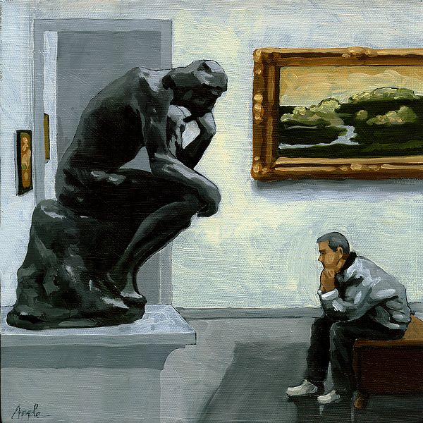 Sculpture Painting - A Lot To Think About - Oil Painting by Linda Apple