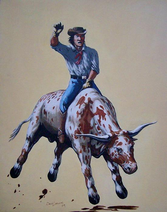 Bull Painting - A Lotta Bull by David  Larcom