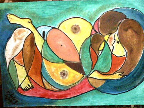 Abstract Painting - A Lurid Love Of A Mother by Rolando Talag