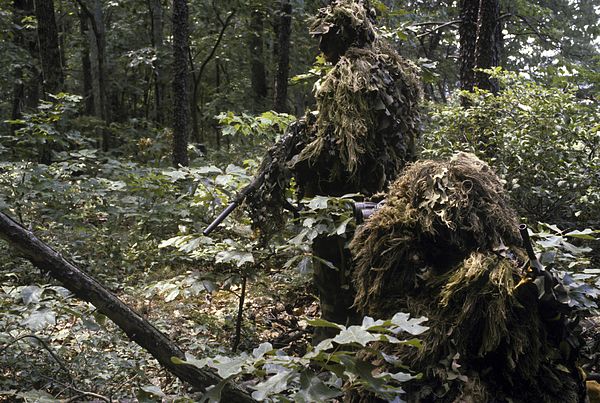 Us Marine Corps Photograph - A Marine Sniper Team Wearing Camouflage by Stocktrek Images